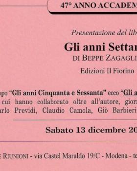 Zagaglia (i libri con Beppe – Circolo degli Artisti, Modena)